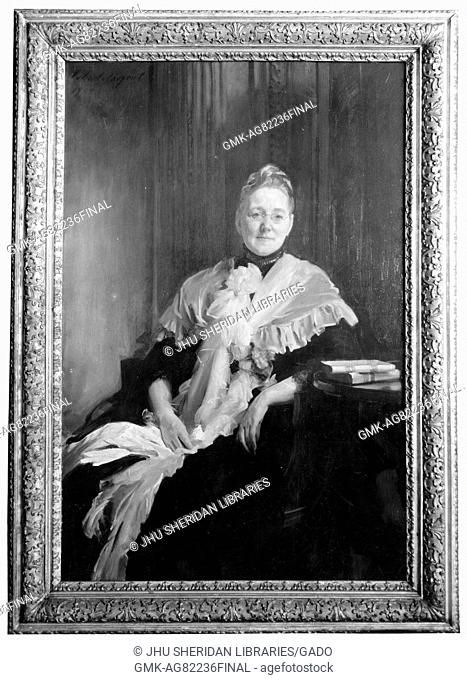Framed photograph of a three-quarter length painted portrait of Mary Elizabeth Garrett, member of a prominent Baltimore family, sitting