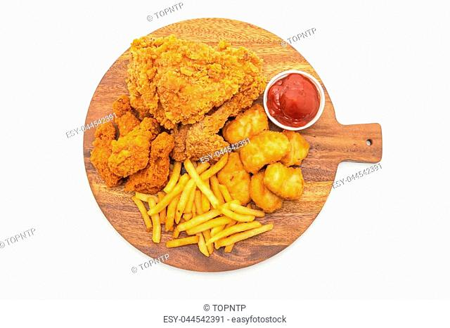 fried chicken with french fries and nuggets meal (junk food and unhealthy food) isolated on white background