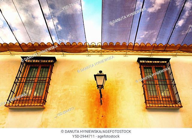 sunshades over street, Villanueva de los Infantes, Ruta de Don Quijote, Ciudad Real, Castile-La Mancha, Spain, Europe