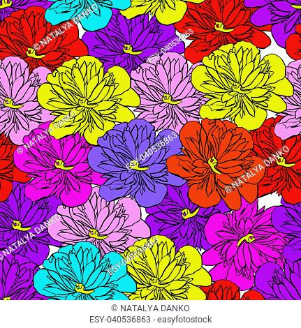 multi-colored buds of a blooming peony isolated on white background, seamless pattern