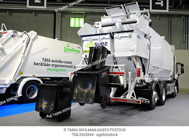 Helsinki, Finland. 09 May, 2019. Refuse truck with NTM's 2-story 4-chamber refuse collector displayed on Transport-Logistics 2019 in Messukeskus Helsinki