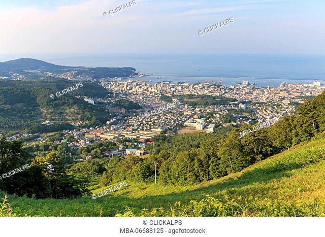 Otaru cityscape viewed from the mountains - Japan
