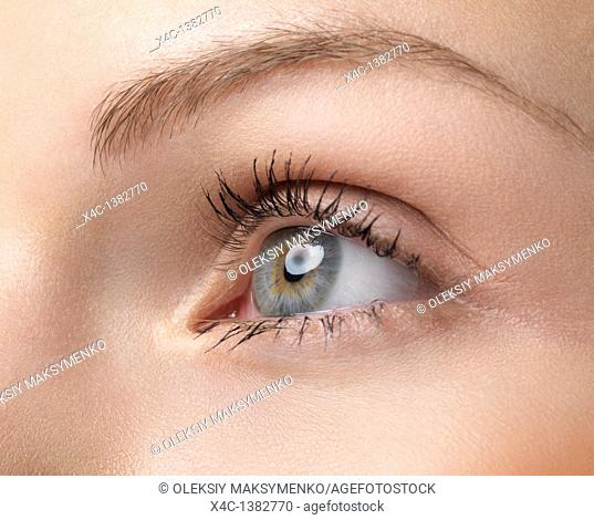Closeup of a young woman's eye