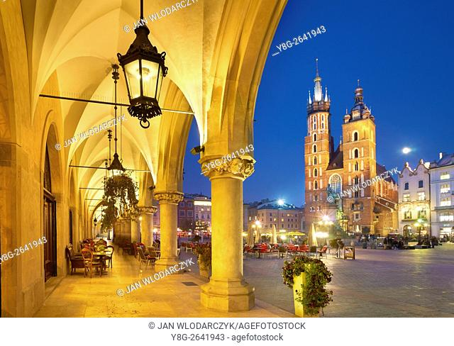 Cracow - Cloth Hall and St Mary's Church, Market Square, Poland