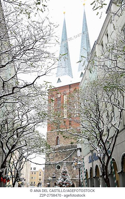 Nicholaskirche spires Saint Nicholas church Berlin Germany