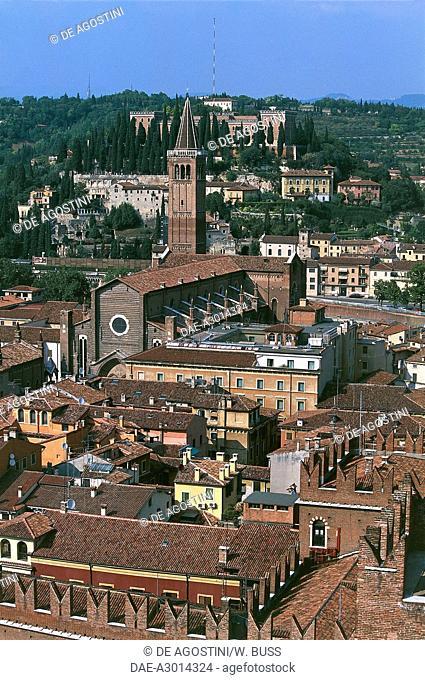 View of Verona with the Basilica of Saint Anastasia from the Lamberti tower, Verona (UNESCO World Heritage Site, 2000), Veneto, Italy