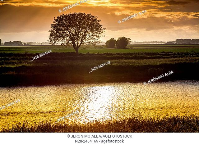 Couesnon river at sunset, Pontorson, Avranches, Lower Normandy, Manche, France, Europe