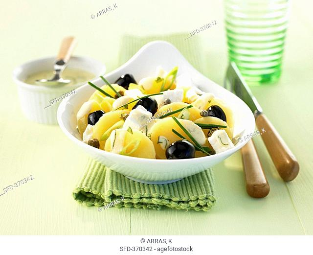 Greek potato salad with feta and black olives