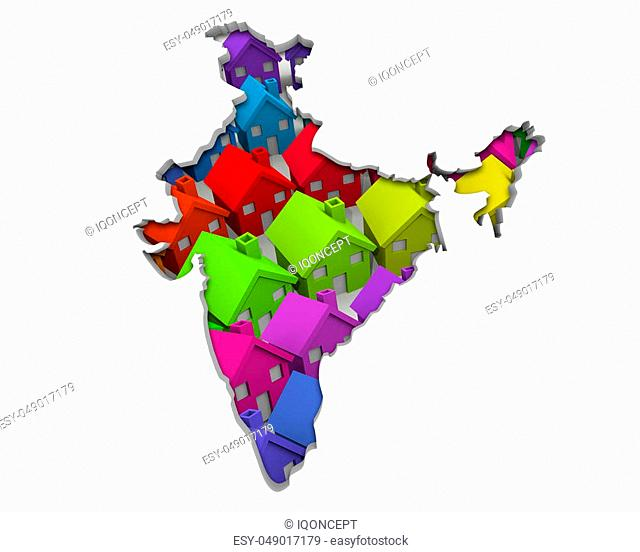 India Asia Indian Homes Homes Map New Real Estate Development 3d Illustration