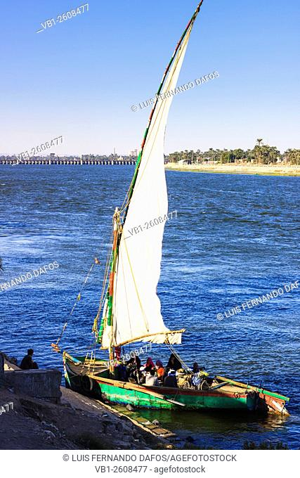 Public felucca ferrying locals from shore to shore over the Nile. Asyut Egypt