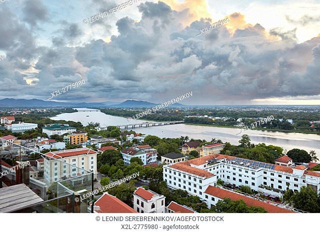Elevated city view. Hue, Vietnam