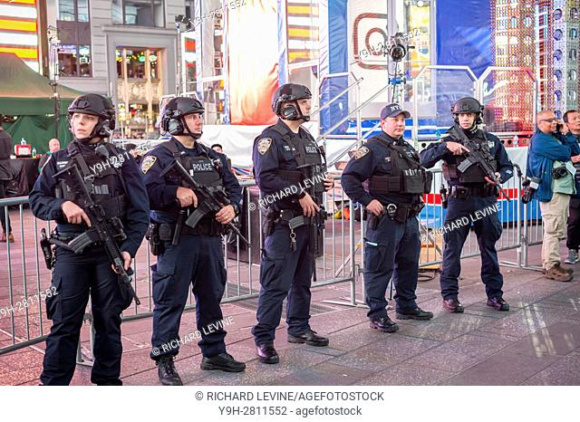 NYPD counterterrorism officers at their post in Times Square on Election night, Tuesday, November 8, 2016
