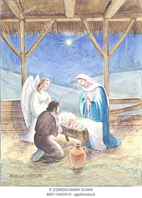 Holy Night - Mary, Joseph and an Angel kneeling beside crib