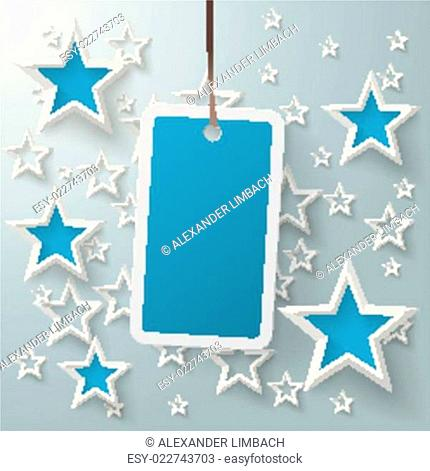 Blue Price Sticker With Stars