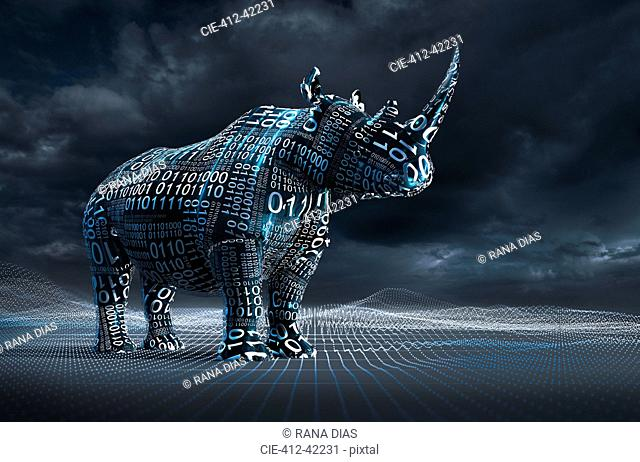 Computer generated image binary code over rhinoceroses
