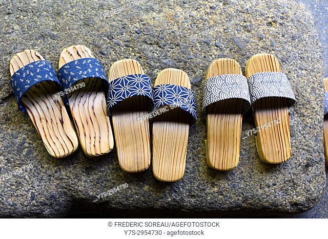 Geta or traditional japanese footwear, a kind of flip-flops or sandal, Japan, Asia