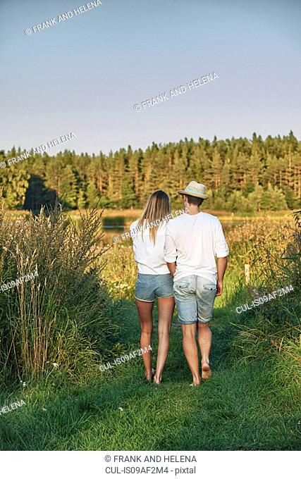 Romantic young couple strolling, Gavle, Sweden