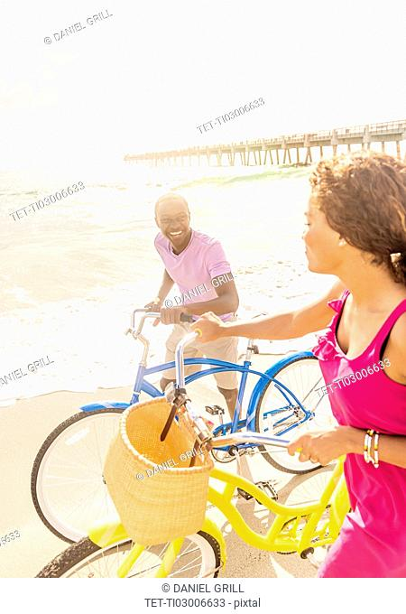 Young couple during bike trip