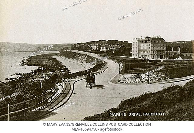 Falmouth, Cornwall Marine Drive (or Cliff Drive) - featuring the Falmouth Hotel, the first commercial hotel to be built in the town, in 1865