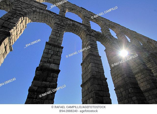 The Roman Aqueduct, 1st century BC. Castilla León. Segovia, Spain