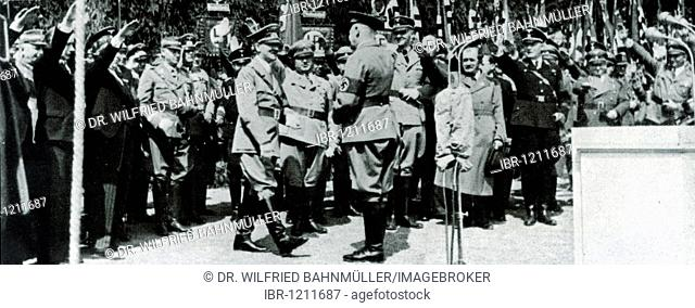Laying of the foundation stone of the VW-plant near Fallersleben, in the middle Adolf Hitler, behind him on the left Stabschef chief of staff Lutze