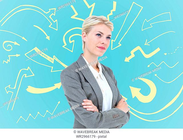 Business woman thinking against blue background and cream arrow graphic