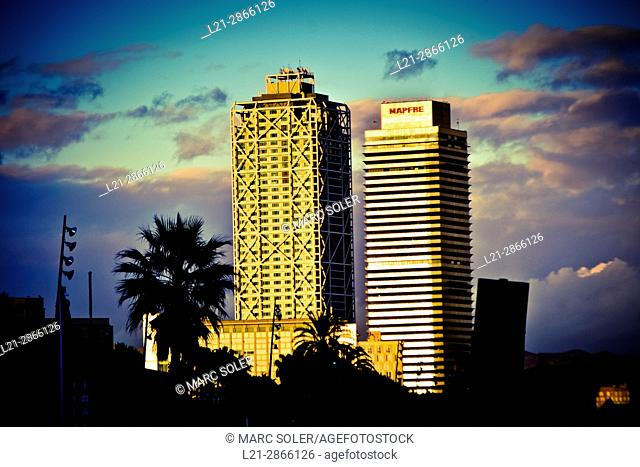 Hotel Arts and Mapfre Tower at dusk. Barcelona, Catalonia, Spain