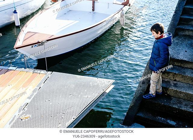 Child at harbor, Lake Maggiore, Ispra, Italy