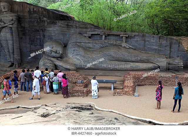 Tourists, Reclining Buddha, Gal Vihara, Sacred City, Polonnaruwa, North Central Province, Sri Lanka