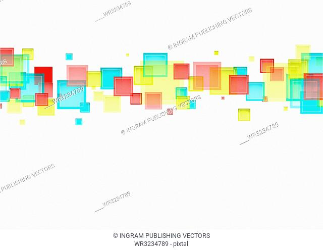White background with rainbow abstract sqaure design ideal for presentation