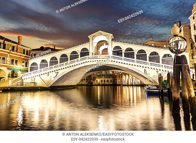 The Rialto Bridge night view with no people, Venice, Italy