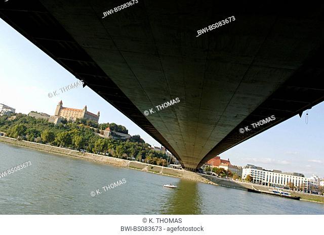 Bratislava, bridge Novi Most, castle, Slovak Republic, Bratislava