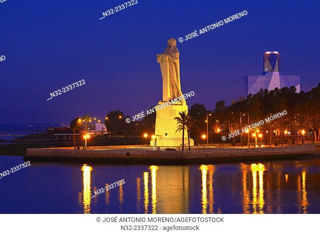 Huelva, Monument to Christopher Columbus at Dusk, Punta del Sebo, Andalusia, Spain