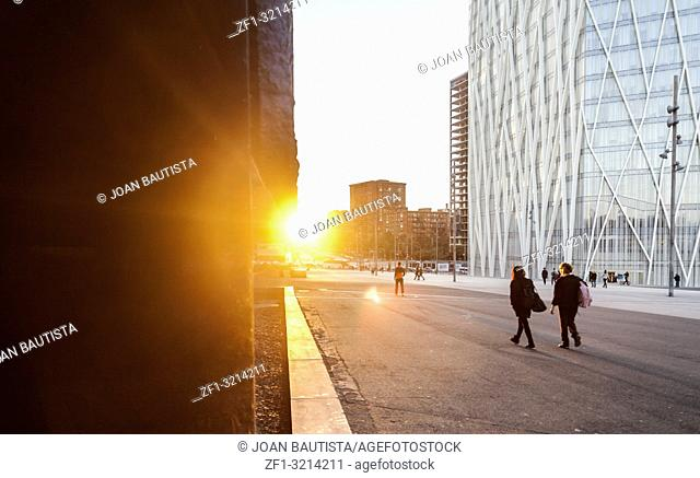 Sunset time and modern building in Diagonal mar, Forum area, Barcelona