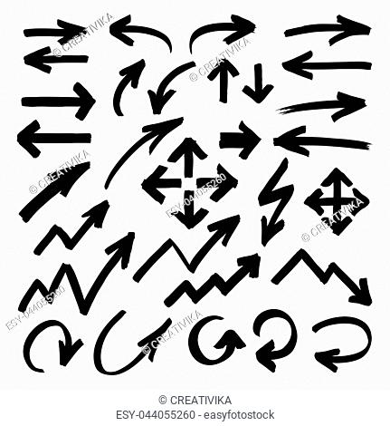 Set of marker arrows, pointers and arrowheads hand drawn by highlighter. Black felt pen shapes isolated on white. Vector symbols in eps8