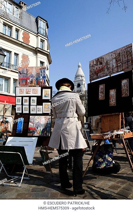 France, Paris, the Butte Montmartre, Tertre square