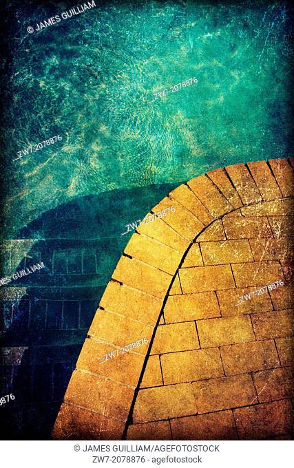Swimming pool edge detail, textured image