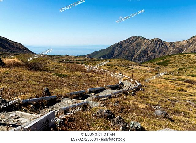 Hiking trail in Mount Tate of Japan