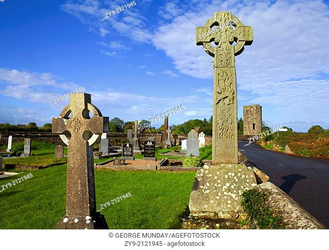 10th Century High Cross and Stump of a Round Tower, Remnants of the Monastry at Drumcliffe, County Sligo, Ireland