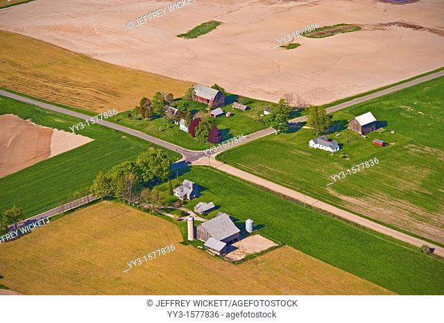 Aerial view of dairy farm in Michigan, USA