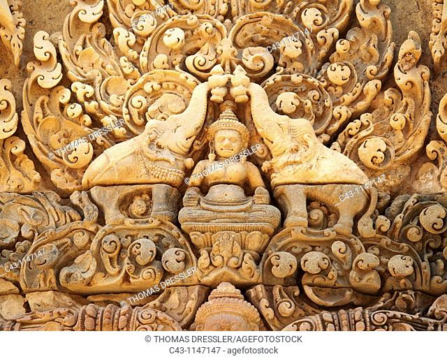 Cambodia - The temple of Banteay Srei is known for the exquisite exuberance of its sandstone carvings  It is located about 25km northeast of the main group of...