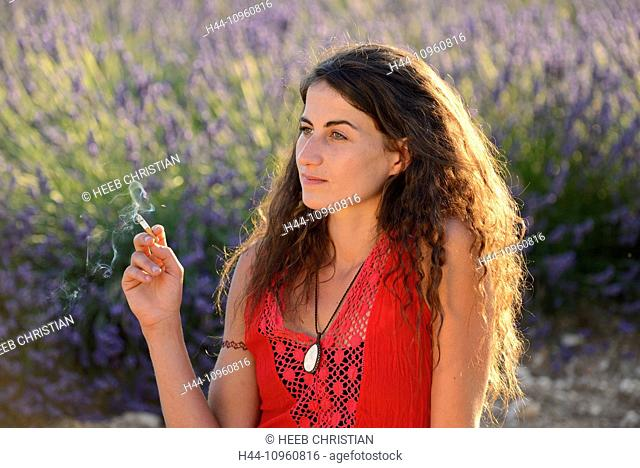 Europe, France, Provence, Vaucluse, lavender, field, woman, walk, red dress, bloom, blooming, nature, girl, walking, french, brunette, hat, flowers, flowering