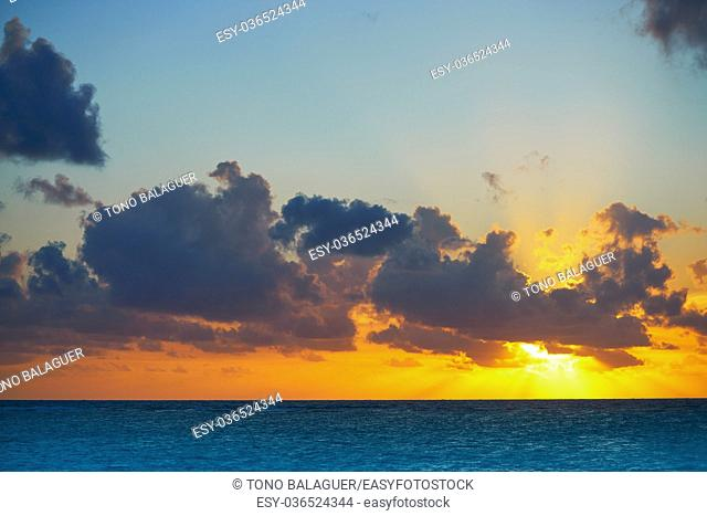 Riviera Maya sunrise beach at Mayan Mexico