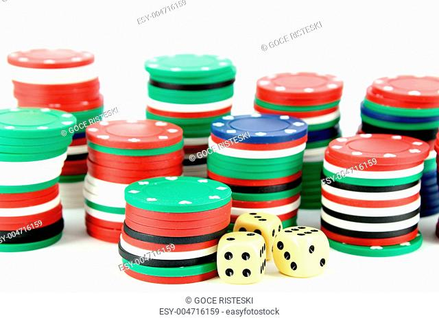 casino chips and dices