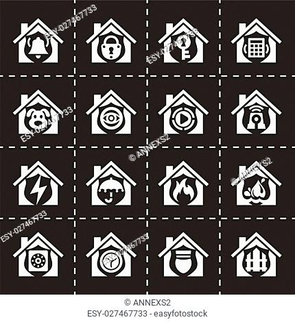 Vector Home security icon set on black background