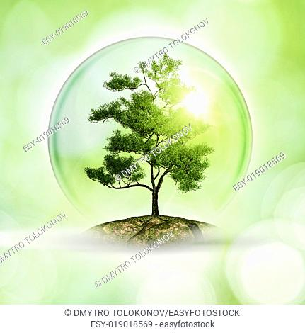 Lone planet. Abstract eco and environmental background