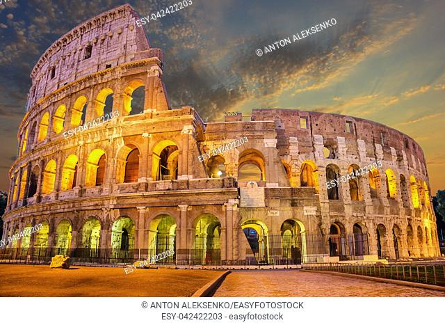 Coliseum enlighted at sunrise, Rome, Italy no people