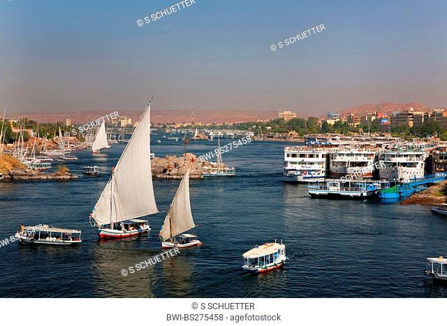 view from Ferial Garden to Nile with feluccas and river cruise ships, Egypt, Assuan