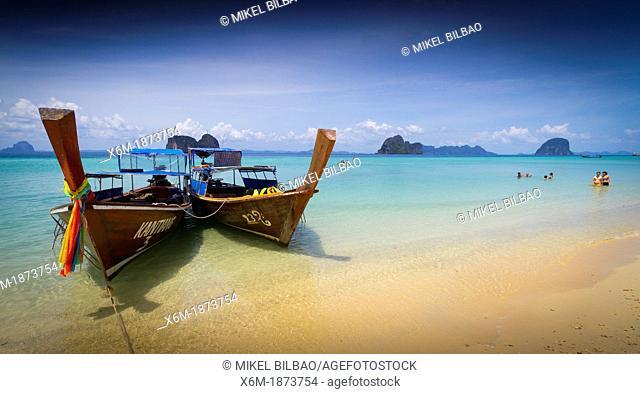 Boats on the beach  Ko Ngai island  Trang islands  Krabi province, Thailand