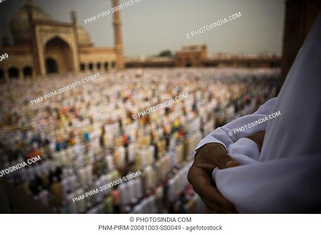 People praying in a mosque at the occasion of Eid, Jama Masjid, Old Delhi, India